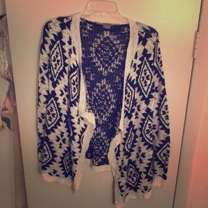 Blue and white Aztec cardigan